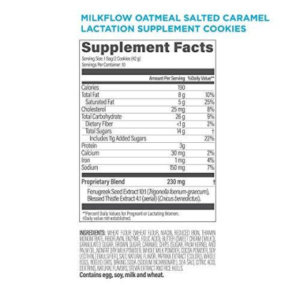 Upspring Milkflow Oatmeal Salted Caramel Lactation Cookies To Support Breastfeeding With Fenugreek And Blessed Thistle, 10 Individually Packaged Servings Of 2 Cookies Per Serving