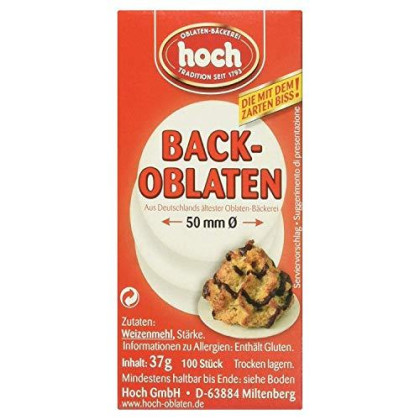 """HOCH Back Oblaten Round Wafer Edible Paper for Baking - 50mm (2"""") 100 Pieces"""