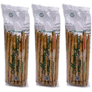 Mario Fongo Hand Stretched Large Italian Rosemary Breadsticks Grissini Rubata - Imported from Italy - 200g (7oz) (3 Pack)