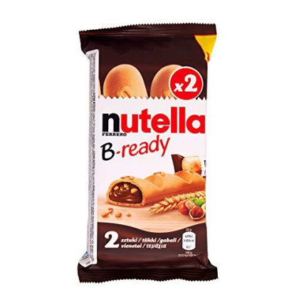 Nutella B-ready Crispy Wafers with Hazelnut and Cocoa Filling, 2 Sticks (Pack of 16)