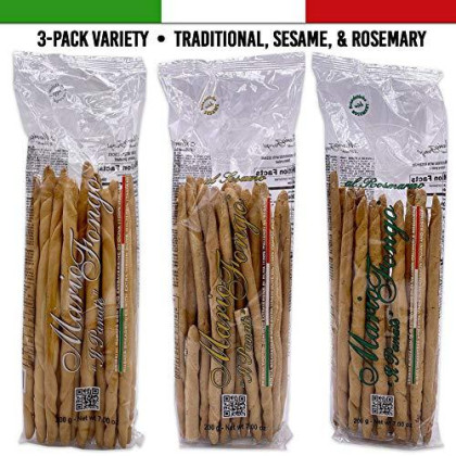 Mario Fongo Hand Stretched Large Italian Breadsticks Grissini Rubata - 3-Pack Variety | Traditional, Sesame, & Rosemary | Imported From Italy - 200G (7Oz) (3 Pack)