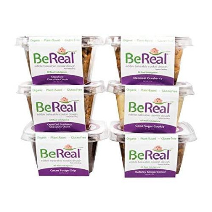 Bereal Doughs 6 Snack Cups, Variety Pack Of Gluten Free, Plant Based, Organic, Edible And Bakeable Cookie Dough (No Refrigeration Needed)