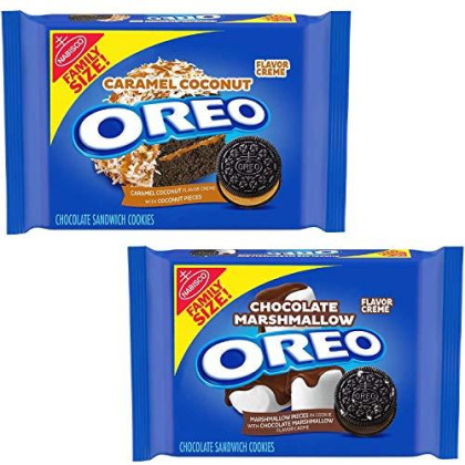 Oreo (1) Chocolate Marshmallow Sandwich And (1) Caramel Coconut Flavored Creme Cookies, Family Size Pack (17 Ounce.) Bundle