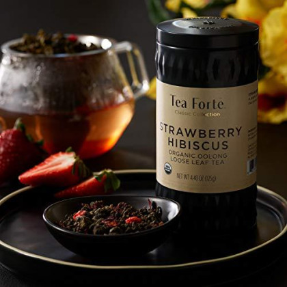 Tea Forte Strawberry Hibiscus Oolong Tea With Organic Hibiscus And Fruit, Loose Leaf Tea Tin, 4.4 Oz Canister