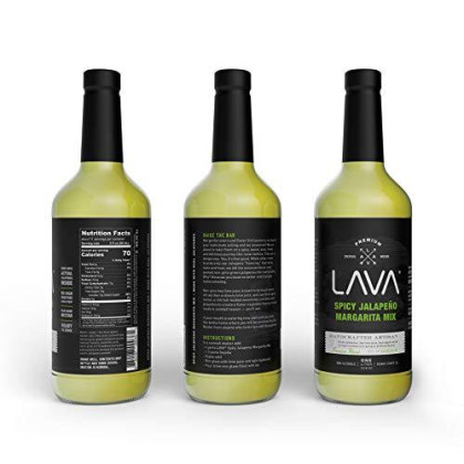 Lava Premium Spicy Jalapeno Margarita Mix Craft Cocktail Mixer, Made With Fresh Jalapenos, Key Limes, And Agave Nectar, 1-Liter (33.8Oz) Glass Bottle, Ready-To-Use
