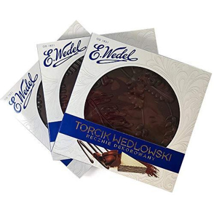 Torcik Wedlowski, Polish Wafer Cake with Dark Chocolate by Wedel (Pack of 3)