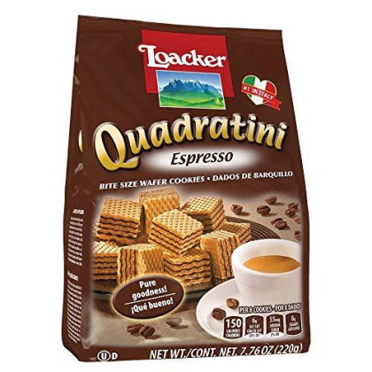 Loacker Quadratini Wafer 5 Flavors - Cappuccino, Tiramisu, Espresso, Blueberry Yogurt, and Matcha-Green Tea (5 Bags 7.76 oz)