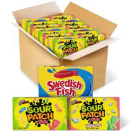 Sour Patch KIDS Original Candy, SOUR PATCH KIDS Watermelon Candy & SWEDISH FISH Candy Variety Pack, 15 Movie Theater Candy Boxes