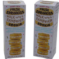 Trader Joe's These Sprinkles Walk Into a Sandwich Cookie, Mini Birthday Cake Cookie, Limited Edition Cookie, Gourmet Snack, (2 Pack)