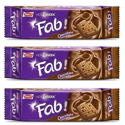 Parle Hide and Seek, Fab! Flavored Chocolate Chip Covered Cookies, Product of India, 3 Packs (Chocolate)