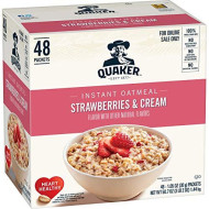 Quaker Instant Oatmeal, Strawberries & Cream, Individual Packets, 48 Count