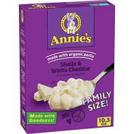 Annie's Shells & White Cheddar Macaroni and Cheese, Family Size, 10.5 oz (Pack fo 6)