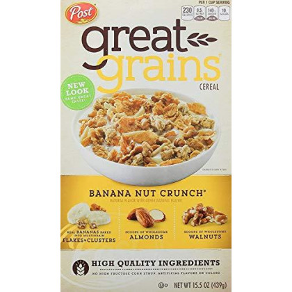 Post Great Grains Banana Nut Crunch Whole Grain Cereal 15.5 Oz. Box