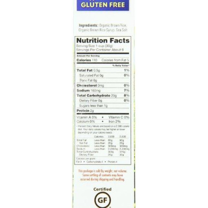 Erewhon Crispy Brown Rice Cereal, Gluten-Free, Organic, 10 Ounce 6 Pack
