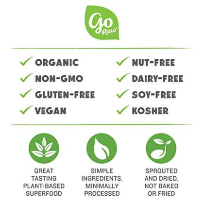 Go Raw Organic Cookie Crisps, Sweet Crunch, 3 Oz. Bags (Pack Of 6) - Superfood | Paleo | Gluten Free Snack Crisps | Vegan