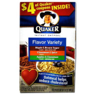 Quaker Instant Oatmeal Flavor Variety Pack, 10-Count Boxes (Pack Of 4)