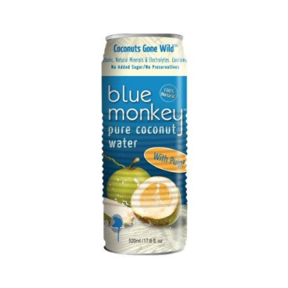 Blue Monkey Water, 100% Coconut Water/Pulp, 17.6-Ounce (Pack Of 24)