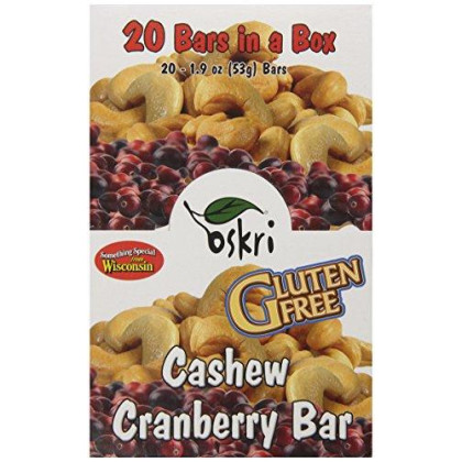 Oskri Granola Bar, Cashew And Cranberries, 1.9-Ounce (Pack Of 20)