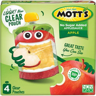 Mott'S No Sugar Added Applesauce, 3.2 Oz Clear Pouches, 4Count