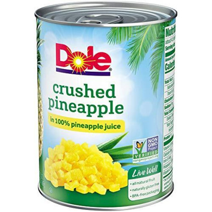 Dole Crushed Pineapple in 100% Juice, 20 Ounce (Pack of 12), 1.25 pound (pack of 12)
