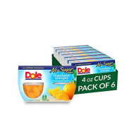 Dole Fruit Bowls, Mandarin Oranges in Water, No Sugar Added, 4 Count, 4 Ounce Cups (Pack of 6) - 24 Total Cups