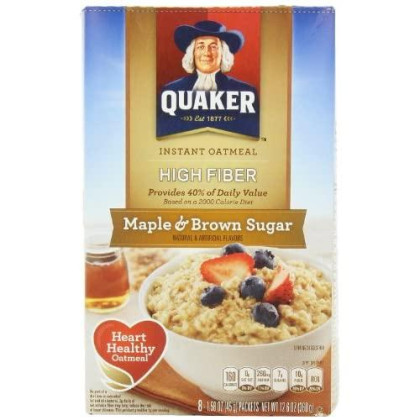 Quaker Instant Oatmeal, High Fiber, Maple Brown Sugar, 12.6-Ounce (Pack Of 6)