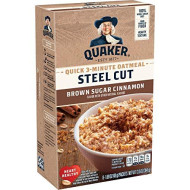 Quaker Steel Cut Quick 3-Minute Oatmeal, Quick Steel Cut, Brown Sugar And Cinnamon, 13.5 Oz, - 8 Count (Pack Of 6) Total- 48 Count