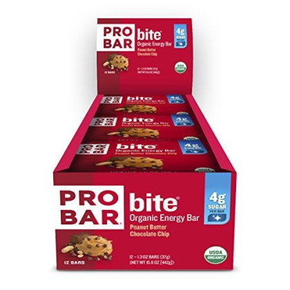 Probar - Bite Organic Energy Bar - Peanut Butter Chocolate Chip - Usda Organic, Gluten-Free, Non-Gmo Project Verified, Plant-Based Whole Food Ingredients, 6G Protein, 3G Fiber - Pack Of 12