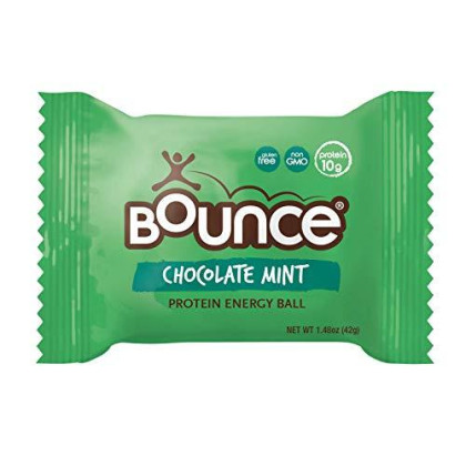 Bounce Natural Protein Energy Ball, Gluten-Free Vegetarian Snack With 9G Of Whey Protein - Cacao Mint, 1.48 Ounce (Pack Of 12)