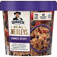 Quaker Real Medleys Oatmeal+, Summer Berry, Instant Oatmeal+ Breakfast Cereal, 2.46Oz Cup
