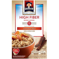 Quaker Instant Oatmeal, High Fiber, Cinnamon Swirl, Breakfast Cereal, 8 Packets