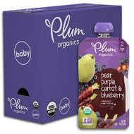 Plum Organics Stage 2, Organic Baby Food, Pear Purple Carrot And Blueberry, 4.0 Ounce Pouch (Pack Of 6)