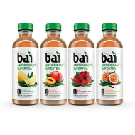 Bai Iced Tea, Supertea Variety Pack, Crafted With Black Tea And White Tea, 18 Fluid Ounce Bottles, 12 Count, 3 Each Narino Peach Tea, Paraguay Passionfruit Tea, Rio Raspberry Tea, Tanzania Lemon Tea