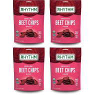 Rhythm Superfoods Beet Chips, Naked, Organic and Non-GMO, 1.4 Oz (Pack of 4), Vegan/Gluten-Free Superfood Snacks
