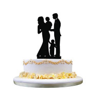 Wedding Cake Topper- Happy Family Cake Topper, Bride And Groom With 2 Kids Silhouette, Anniversary Party Decor