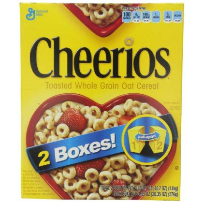 General Mills Cheerios Toasted Whole Grain Oat Cereal, 20.35 Ounce, 2 Count