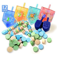 Izzy ?n? Dizzy 12-Pack Candy Filled Dreidel - Chanukah Gift Toy - Medium Sized Plastic Fillable Draidel with Hanukkah Shaped Candies - Certified Kosher