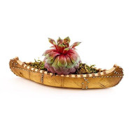 Top Collection Indigenous Bark And Leather Canoe Replica 7.75-Inch Collectible Mini Succulent Planter And Air Plant Pot