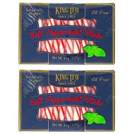 King Leo Soft Peppermint Sticks - 8 Oz Pack Of Two - Individually Wrapped Peppermint Sticks Fat Free