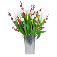 Stargazer Barn Holiday Tulip Bouquet - 24 White Tulips With Christmas Berries - Vase Included
