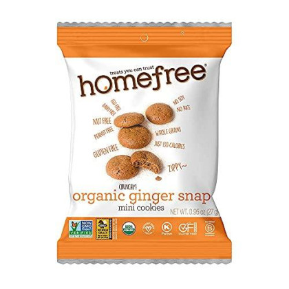 Homefree Treats You Can Trust Gluten Free Mini Cookies, Single Serve, Organic Ginger Snap, 0.95 Ounce (Pack of 10)
