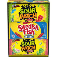 SOUR PATCH KIDS & SWEDISH FISH Soft & Chewy Candy Variety Pack, 18 Individual Snack Packs