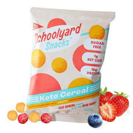 Schoolyard Snacks Low Carb Keto Cereal - Fruity - High Protein - All Natural - Gluten & Grain-Free - Healthy Breakfast - Low Calorie Food - 12 Pack Single Serve Bags - 100 Calories Snack