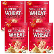 Post Cereal Frosted Shredded Wheat - 4 Pack Bulk Post Whole Grain Breakfast Cereal (Strawberry)