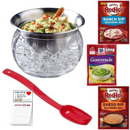Guacamole Serving Bowl With Lid | Iced Stainless Steel Bowl | Franks Red Hot Queso And Ranch Dip Mix | Mccormick Guacamole | Magnetic Refrigerator Pad By Snack Fun
