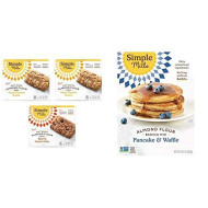 Simple Mills, Snacks Variety Pack, Nutty Banana Bread, Spiced Carrot Cake Variety Pack, 3 Count & Almond Flour Pancake Mix & Waffle Mix, Gluten Free, Made with whole foods