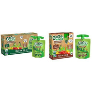 GoGo squeeZ Organic Applesauce, Apple Apple, 3.2 Ounce (12 Pouches) & Organic Applesauce, Apple Cinnamon, 3.2 Ounce (4 Pouches), Gluten Free, Vegan Friendly, Unsweetened Applesauce