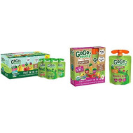 GoGo squeeZ Applesauce, Variety Pack (Apple/Peach/GIMME 5), 3.2 Ounce (20 Pouches) & Organic fruit & veggieZ, Apple Mixed Berry Carrot, 3.2 Ounce (4 Pouches), Gluten Free, Vegan Friendly
