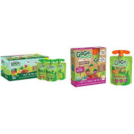 GoGo squeeZ Applesauce, Variety Pack (Apple/Banana/Strawberry), 3.2 Ounce (20 Pouches) & Organic fruit & veggieZ, Apple Mixed Berry Carrot, 3.2 Ounce (4 Pouches), Gluten Free