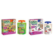 GoGo squeeZ Organic fruit & veggieZ, Apple Mixed Berry Carrot, 3.2 Ounce (4 Pouches), Gluten Free & YogurtZ, Berry, 3 Ounce (4 Count), Low Fat Yogurt, Gluten Free, Healthy Snacks, Recloseable